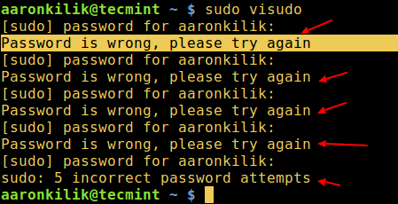Sudo badpassword Message