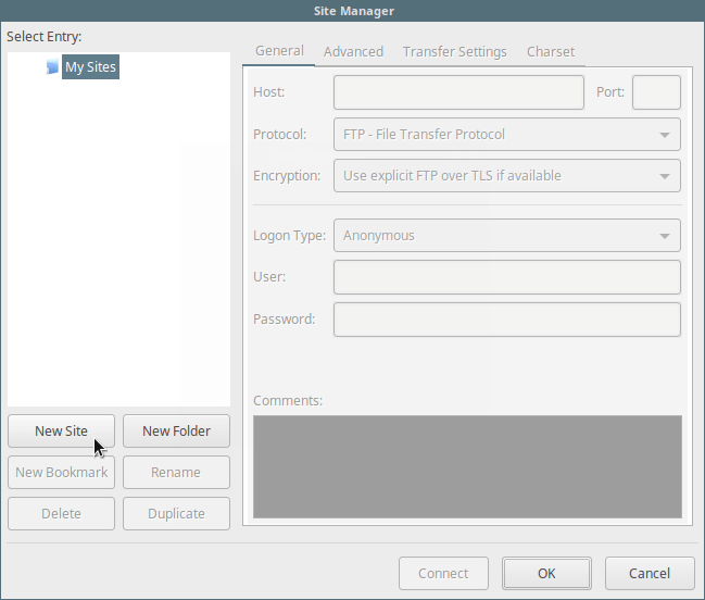 Add New FTP Site in Filezilla