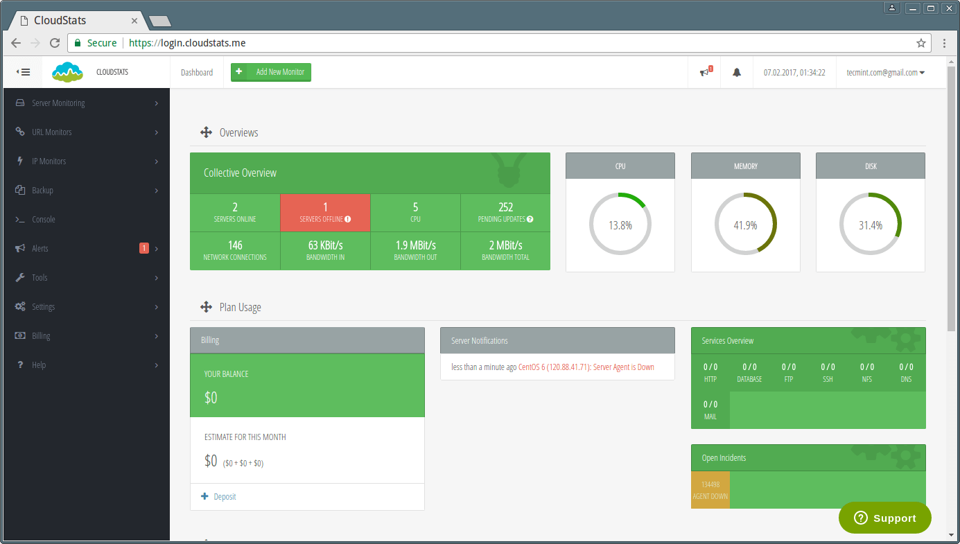 CloudStats - Server Monitoring Overview