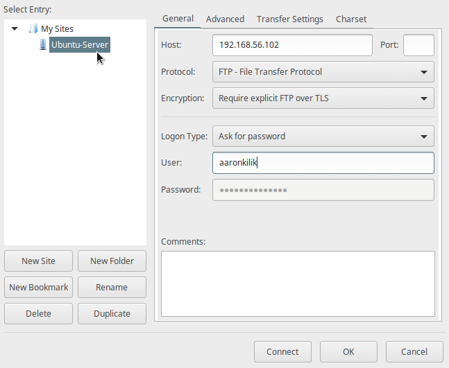 Configure New FTP Site on Filezilla