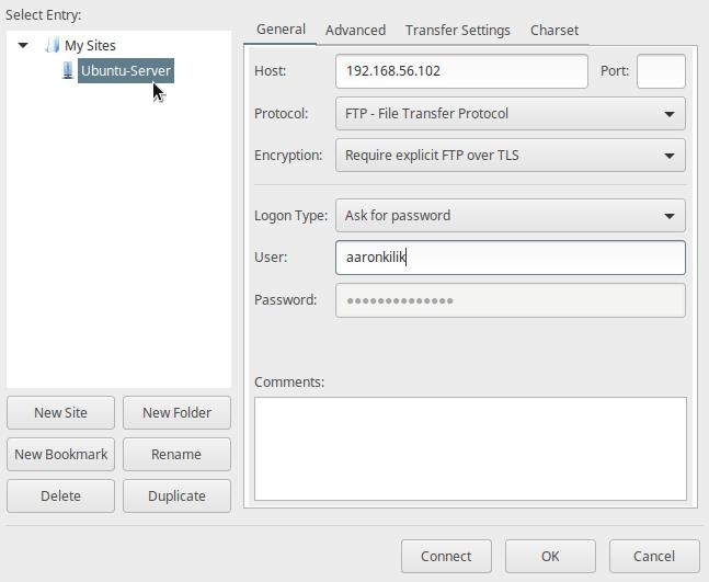 Configure New FTP Site on Filezilla