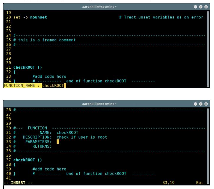 Create Header Function in Script