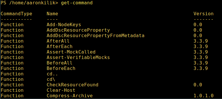 List Powershell Commands