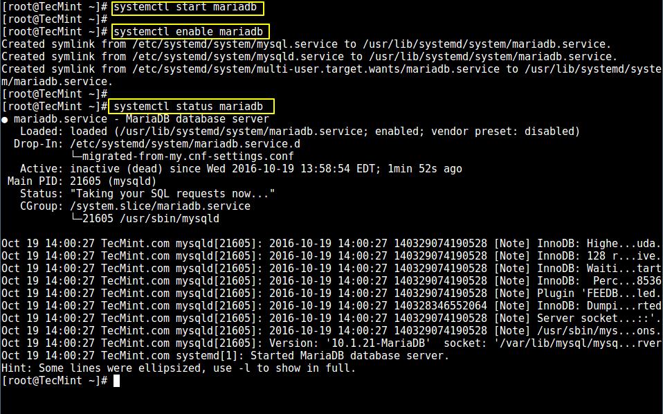 Start MariaDB Service in CentOS 7