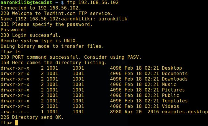 Verify FTP Login in Ubuntu