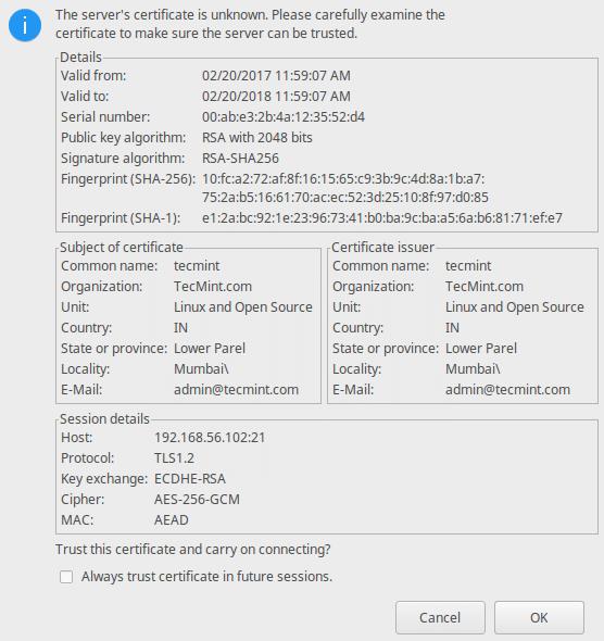 Verify FTP SSL Certificate