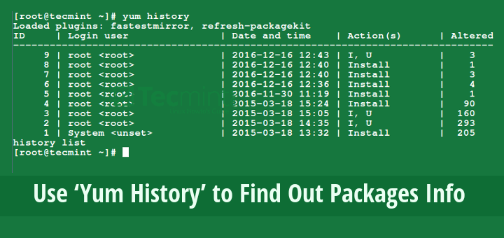 Yum History to Find Package Info