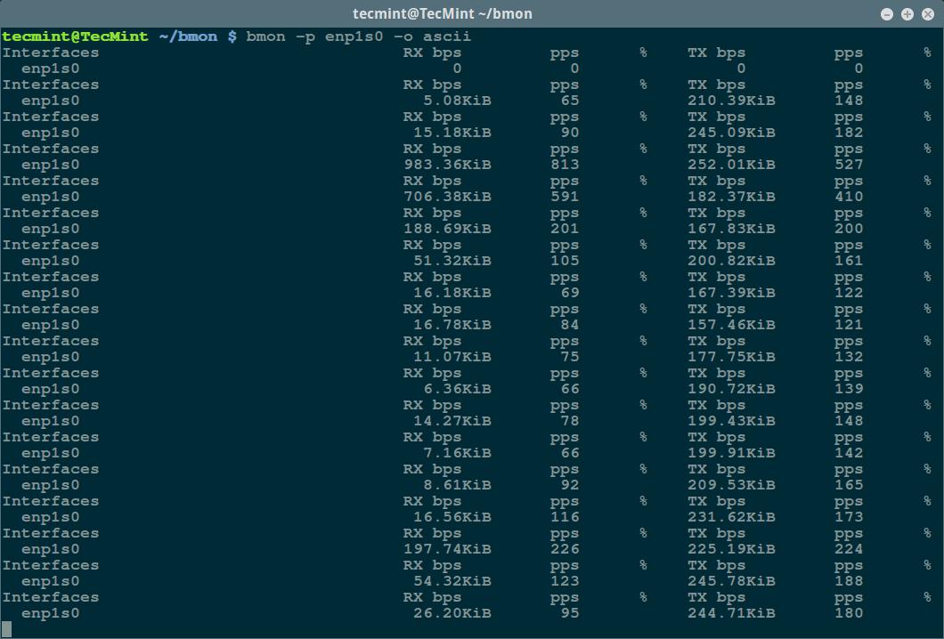 bmon - Ascii Output Mode