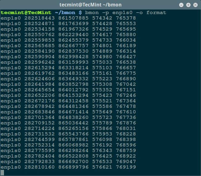 bmon - Format Output Mode