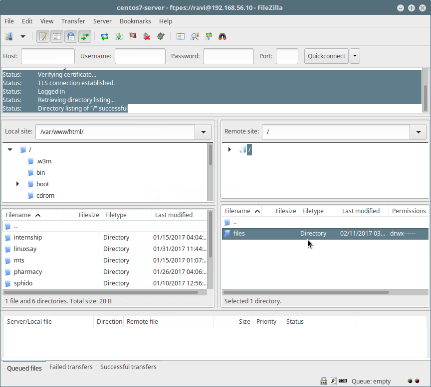 Connected to FTP Server Over TLS/SSL