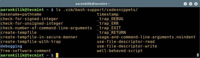 List of Code Snippets