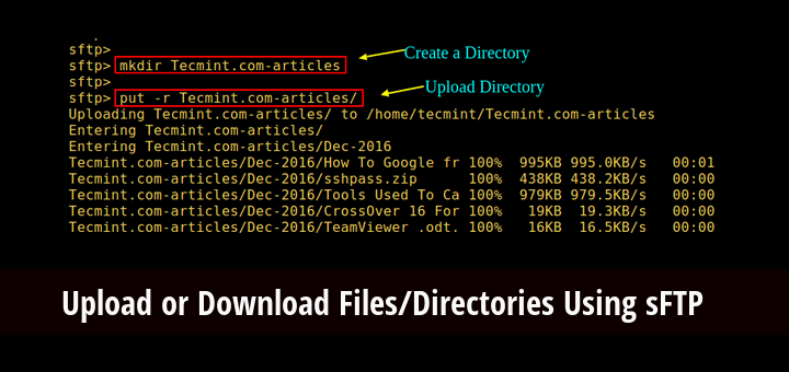 How to Upload or Download Files/Directories Using sFTP in Linux
