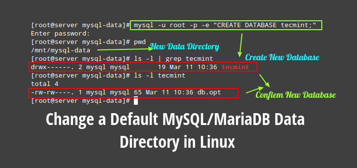 Change a Default MySQL/MariaDB Data Directory in Linux