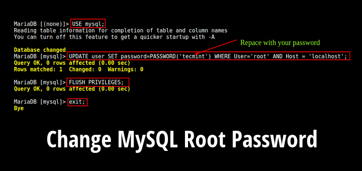 Change MySQL Root Password