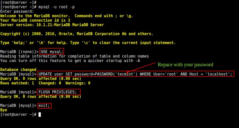 how to reset mysql root password linux