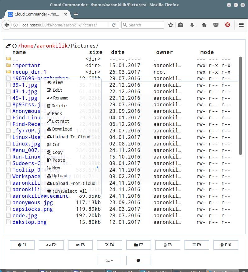 Cloud Commander File Menu