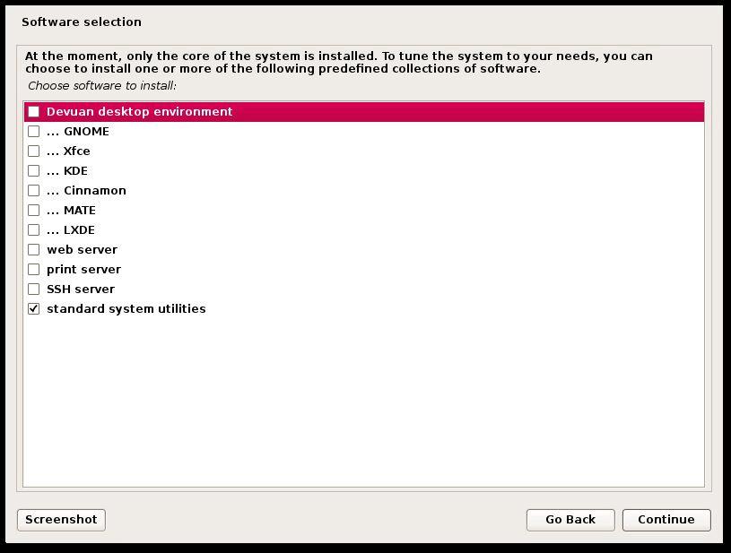 Selección de software de Devuan Linux