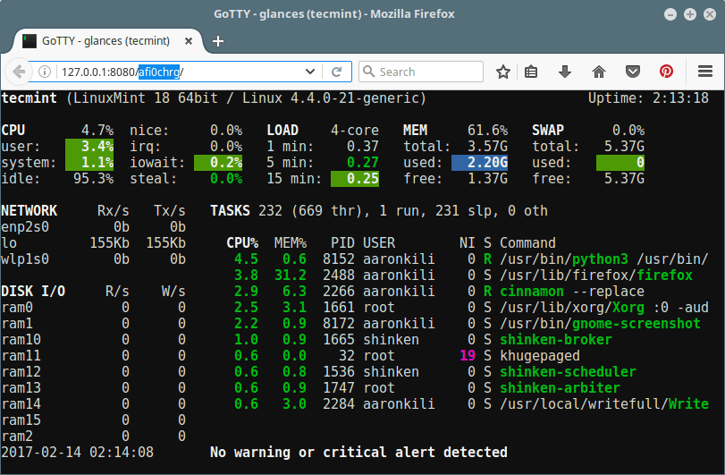 Gotty Random URL for Glances Linux Monitoring