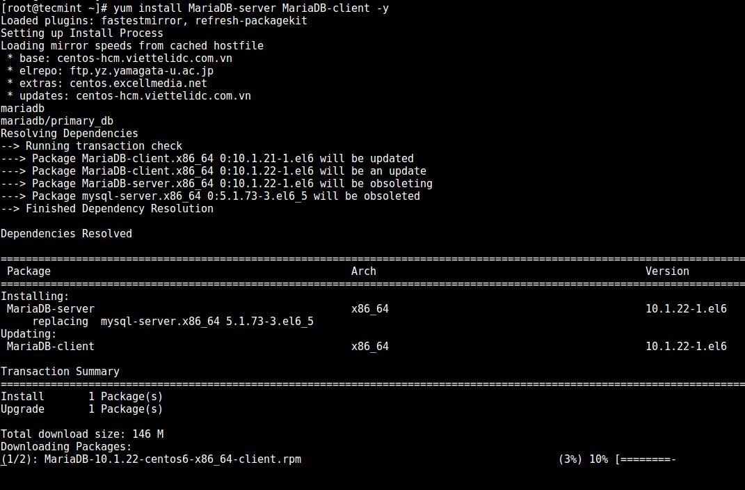 Install MariaDB in CentOS 6
