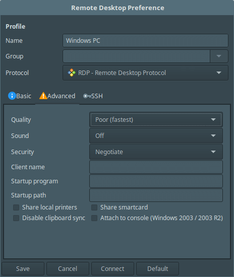 Remmina Advance Desktop Settings