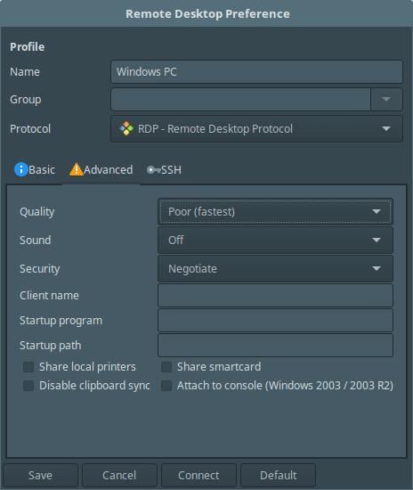 Remmina Advance Desktop Settings