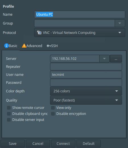 Remmina Desktop Sharing Preferences