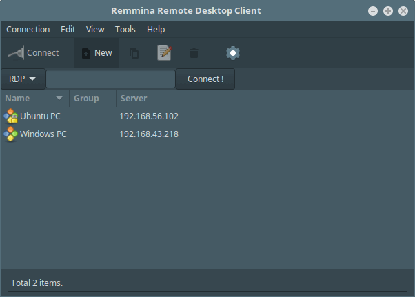 Remmina Configured Servers