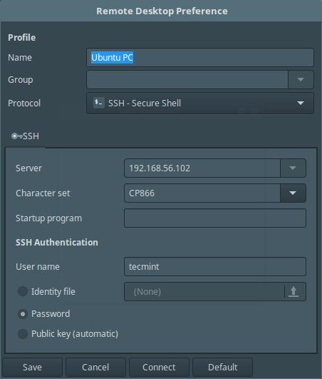 Remmina SSH Connection