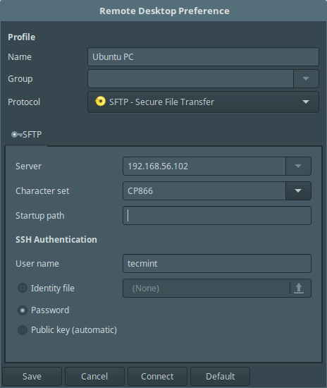 Remmina sftp Connection