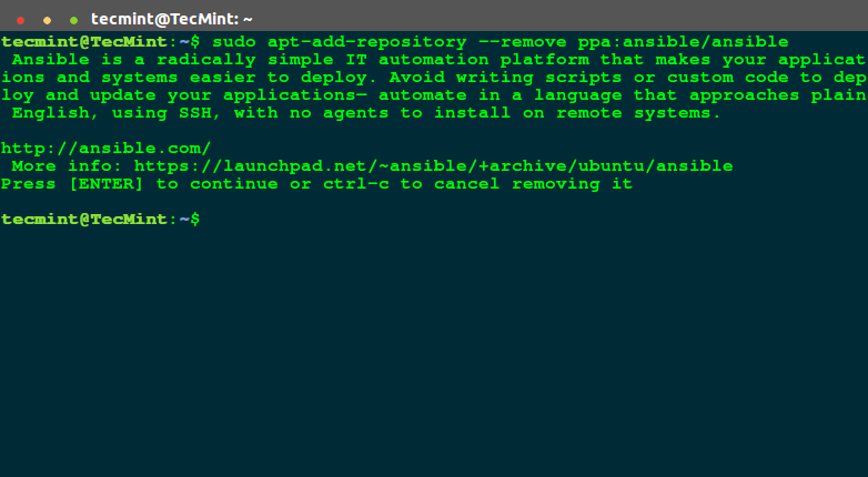 Remove PPA from Terminal