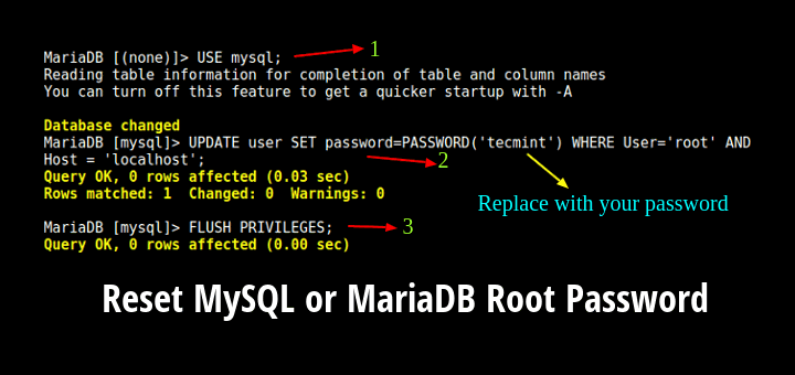 Reset MySQL or MariaDB Root Password