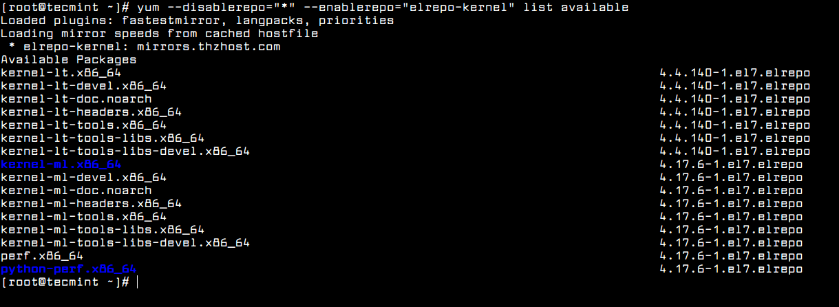 Yum - Find Available Kernel Versions