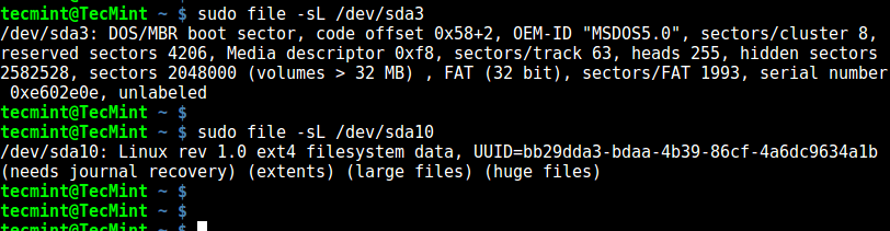 file - Identifies Filesystem Type