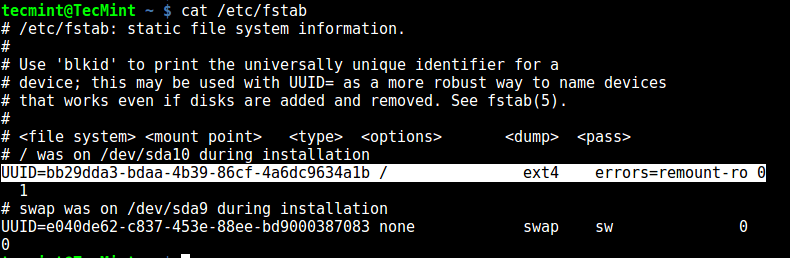 Fstab - Shows Linux Filesystem Type
