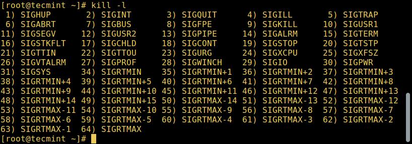 List All Linux Signals