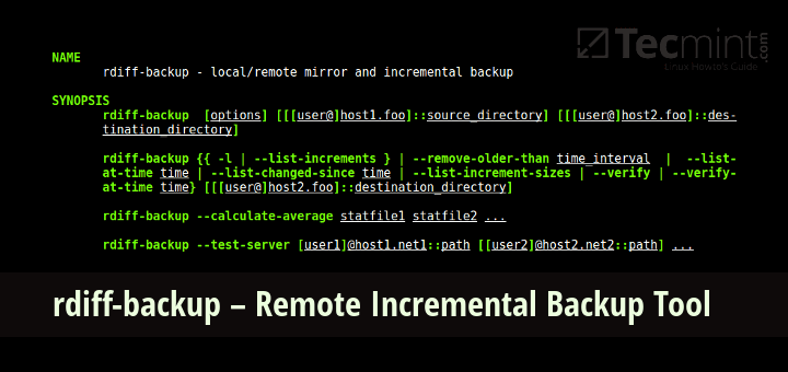 rdiff-backup – A Remote Incremental Backup for Linux