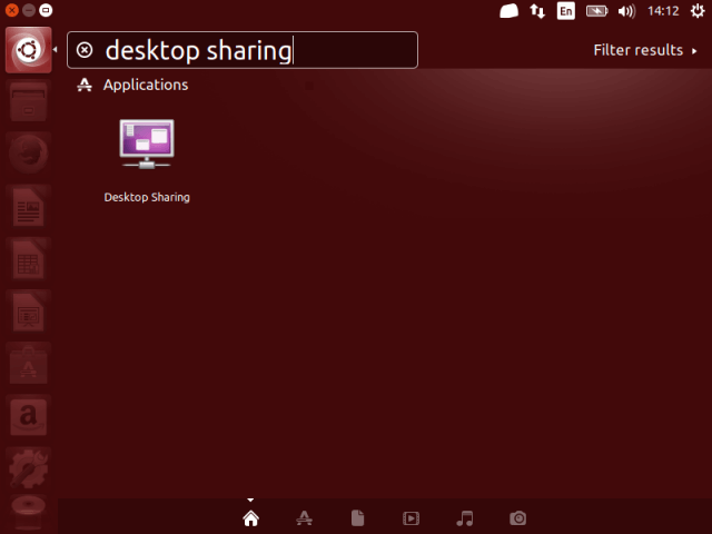 Search for Desktop Sharing in Ubuntu