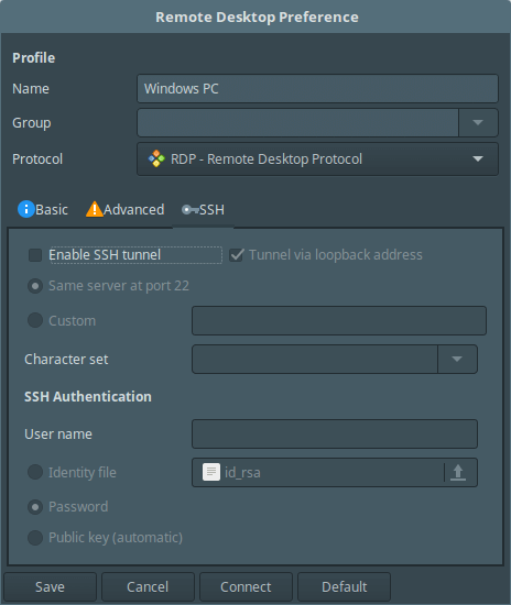 Remmina SSH Settings