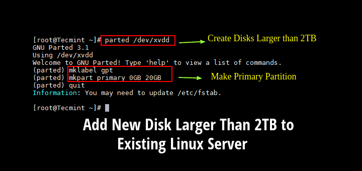 Add Disk Larger Than 2TB to Linux