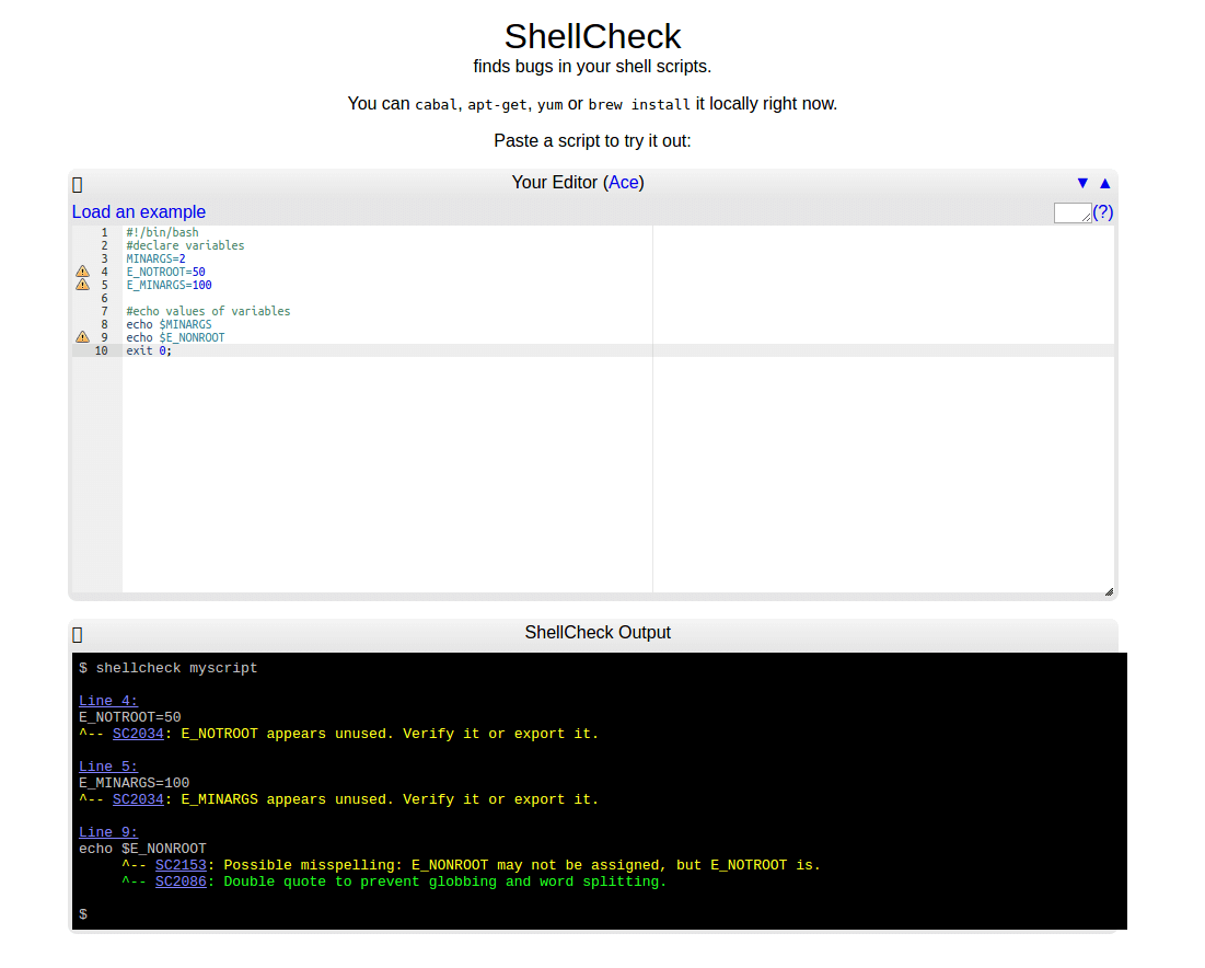 ShellCheck - Online Shell Script Analysis Tool