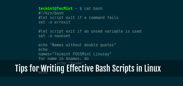 Linux Bash Scripting Writing Tips