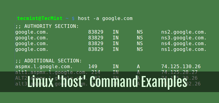 Linux host Command Examples