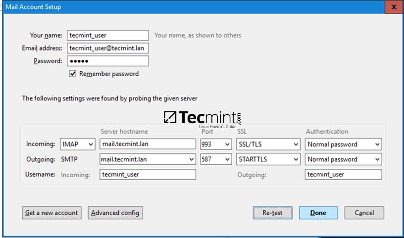 Thunderbird iRedMail Settings
