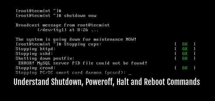 Understanding Shutdown, Poweroff, Halt and Reboot Commands
