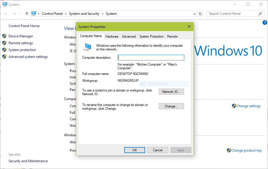 Verifique o Windows WorkGroup