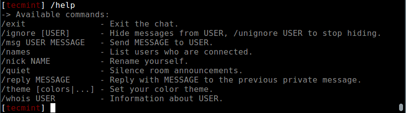 SSH Chat Help