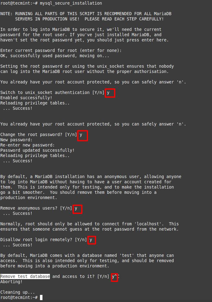 Secure MariaDB Installation