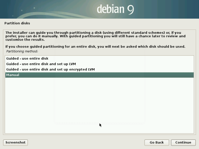 Select Manuel Disk Partitioning