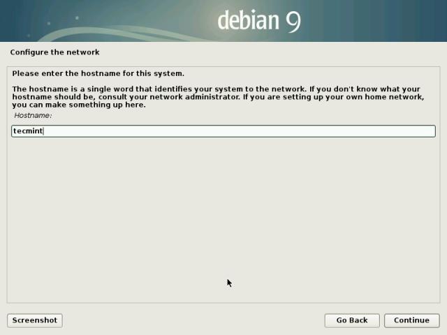 Set Debian 9 Hostname