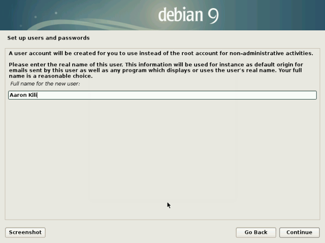 Setup Debian 9 User Account